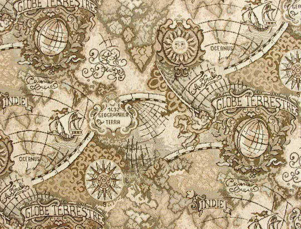Ancient map of world fabric