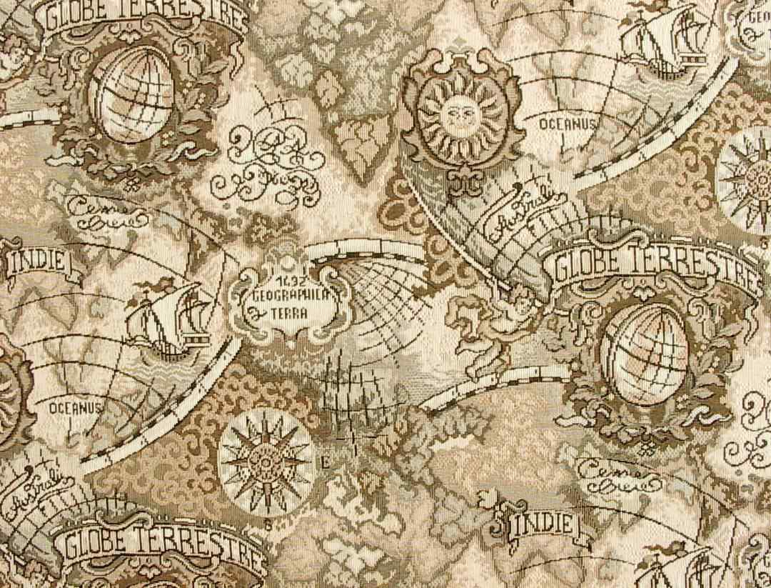 Old world map fabric cartography pinterest for Fabric world