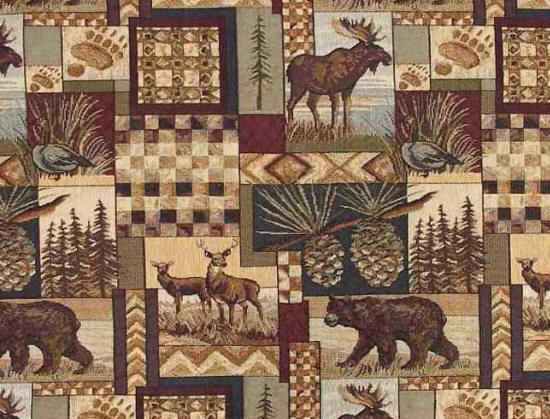 Cabin rustic losge outdors style fabric with various animals like bear, moose, elk and deer