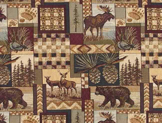 Rustic Lodge Fabric Wildlife Moose Deer Bear