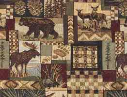 Cabin rustic lodge upholstery fabric with animals