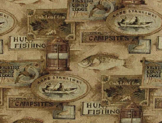 Fishing lodge fish themed fabric