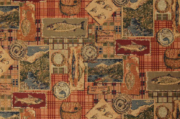 woven Gone Fishing fabric with various fish themes in rust red, tan and gree colors
