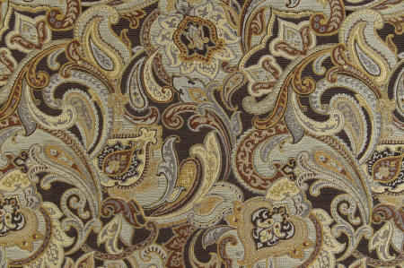 Lydia graphite paisley upholstery fabric with black, gold and silver