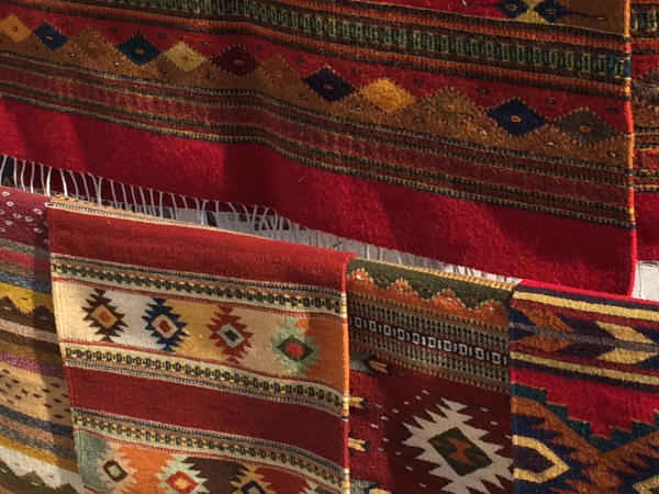 Native American rugs in deep vibrant colors