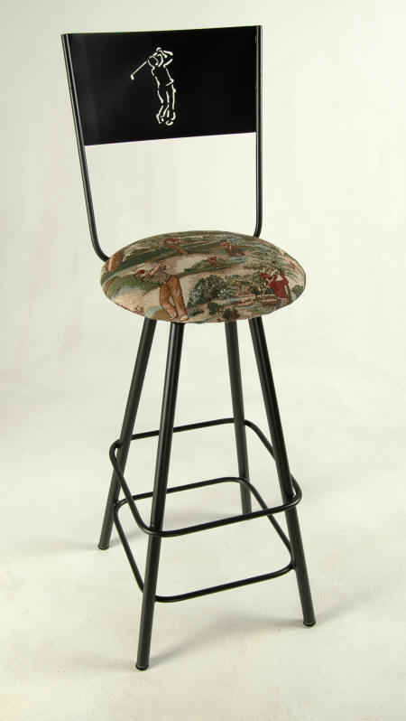 Golf fabric shown on swivel bar stool with golf motif metal cutout back