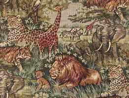 Safari African animals fabric with lion, elephant. tiger and leopard