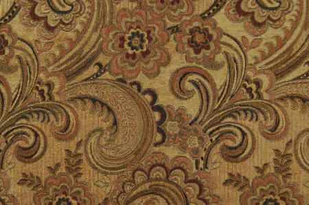 Silas acorn woven jacquard paisley upholstery fabric with gold chenille