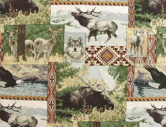 Yukon rustic outdoor fabric showing animals like elk, moose, wolf and bear