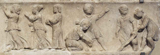 Roman children playing a stick game that was the the beginings of golf