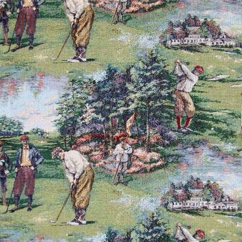 Weekends golf fabric with vintage golfers playing